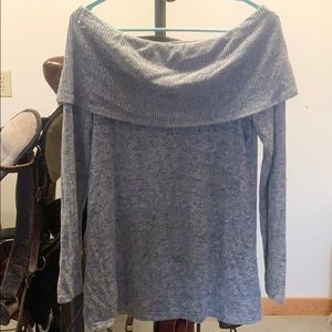Grey off the shoulder long sleeve top